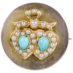 Antique Edwardian Turquoise Pearl Heart Brooch Locket 18 Carat Gold, circa 1910