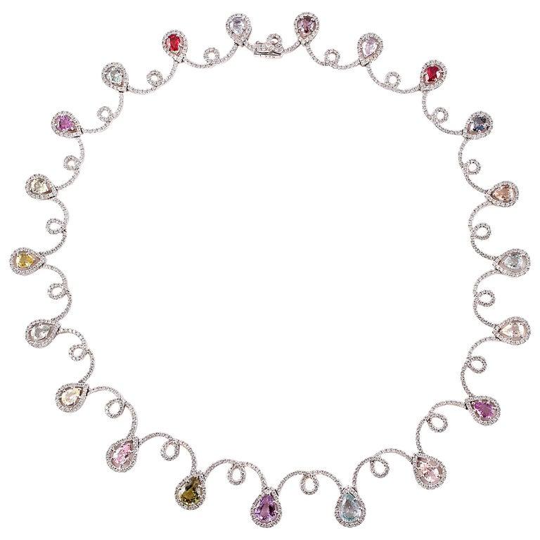 11.12 Carat Sapphire 4.90 Carat Diamond White Gold Necklace For Sale