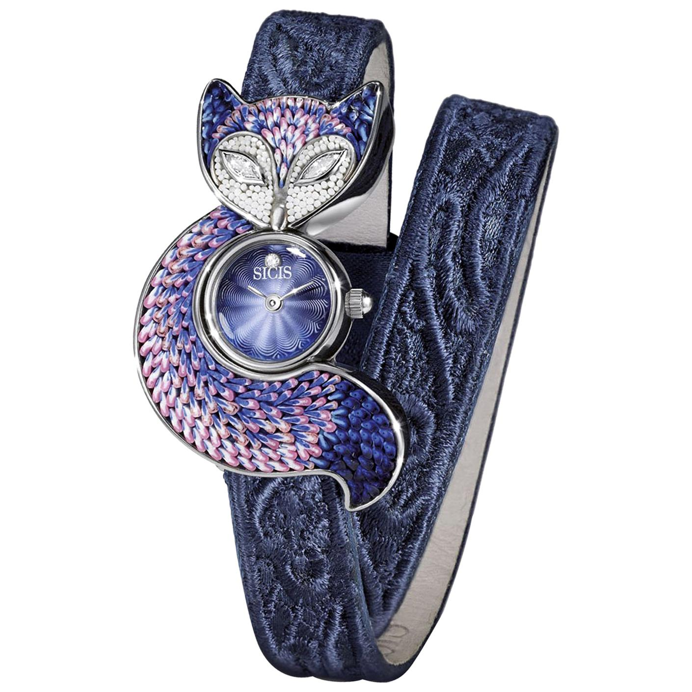 Wristwatch Silver Stainless Steel White Diamonds Guilloche Dial Micromosaic
