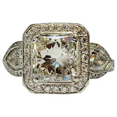 JB Star Platinum 3.70 Carat Total Weight Radiant Cut Diamond Engagement Ring