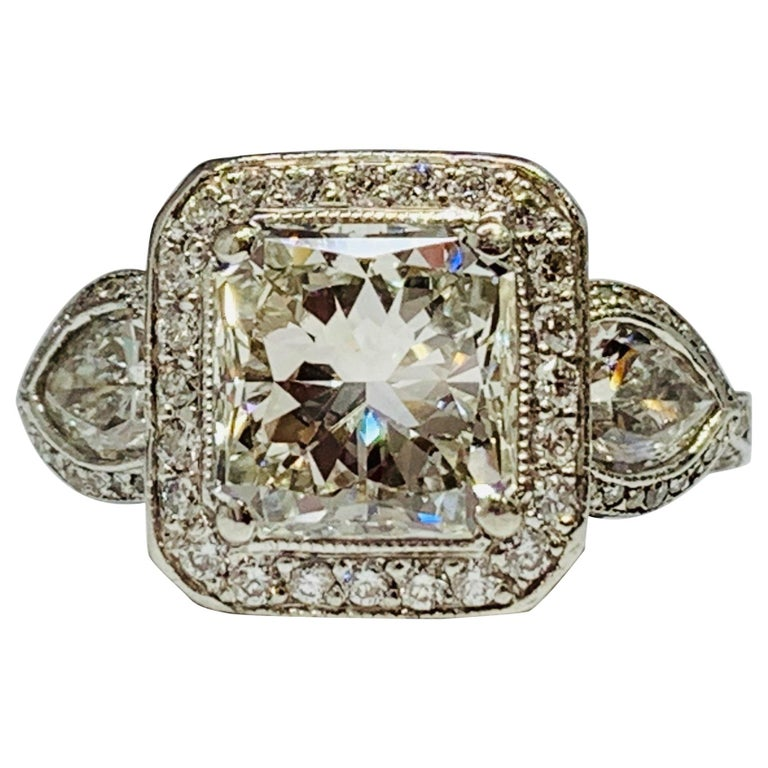 JB Star Platinum 3.70 Carat Total Weight Radiant Cut Diamond Engagement Ring For Sale