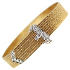 Chic 2-Toned Gold and Diamond Belt Buckle Bracelet