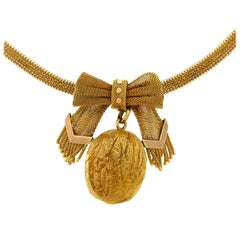 Antique Russian Gold Walnut Necklace