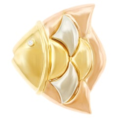 "Bulgari ""Naturalia"" Fish Gold Brooch"