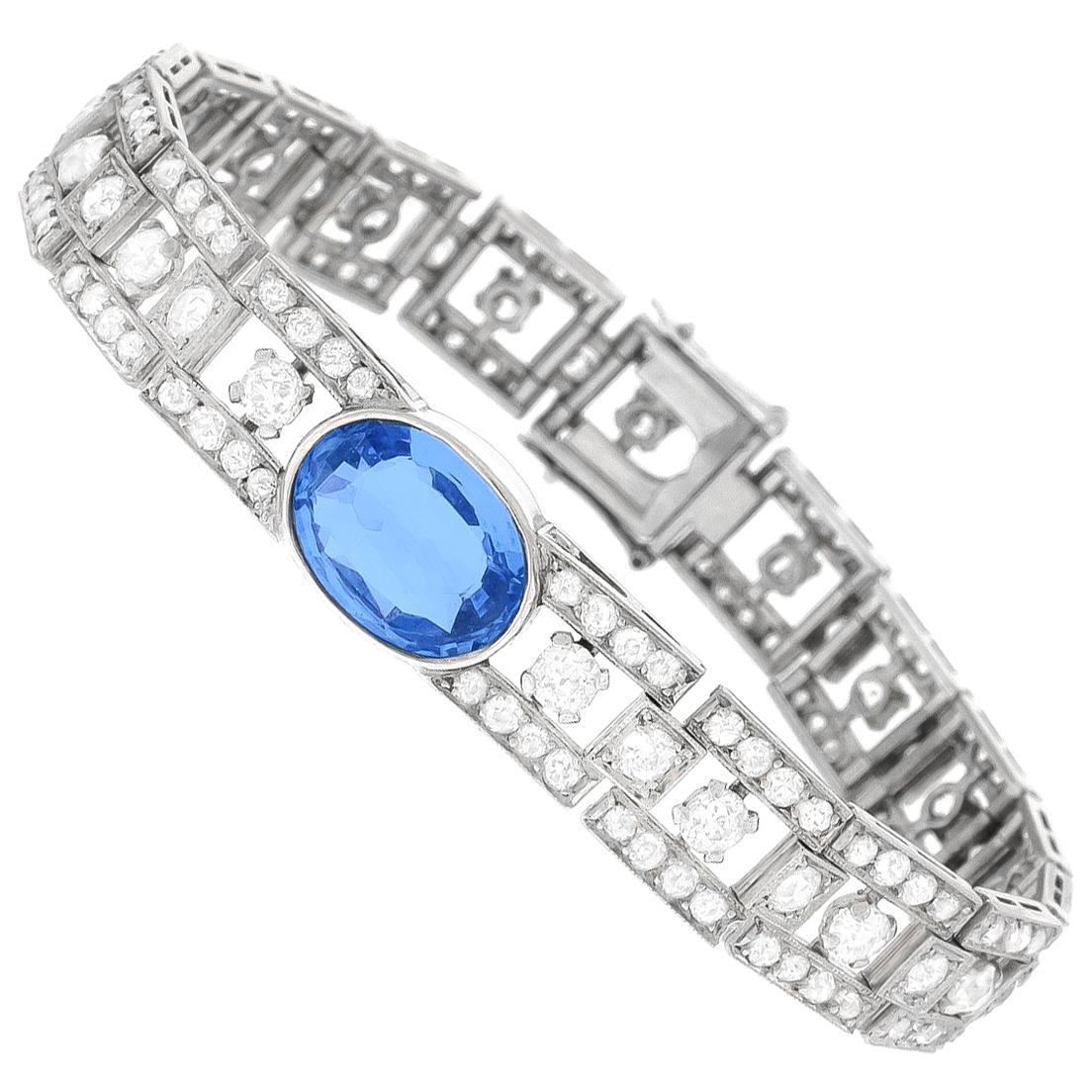 Art Deco Sapphire and Diamond Set Platinum Bracelet