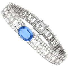Art Deco Sapphire and Diamond Set Platinum Bracelet