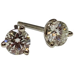Hearts on Fire 0.47 Carat Total Weight Round Diamond Stud Earrings