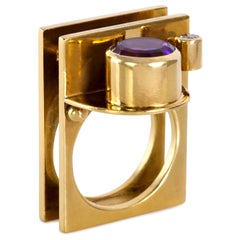 Hannelore Gabriel Amethyst Diamond and Gold Ring