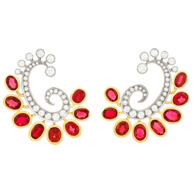Mogul Aesthetic Garnet and Diamond Earrings For Sale