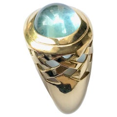 Mauboussin Ring in 18 Karat Yellow Gold Setting an Aquamarine Cabochon