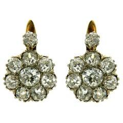 Victorian Diamond Gold Cluster Earrings