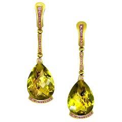 Lemon Quartz Pink Sapphire Yellow Gold Swan Drop Earrings