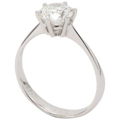 Solitaire Engagement Ring, GIA Graded Round Diamond 1.20ct in 18K White Gold
