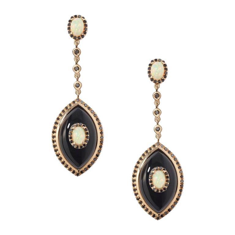 Marlo Laz Black Diamond Onyx Opal 14 Karat Yellow Gold Evil Eye Amulet Earrings For Sale