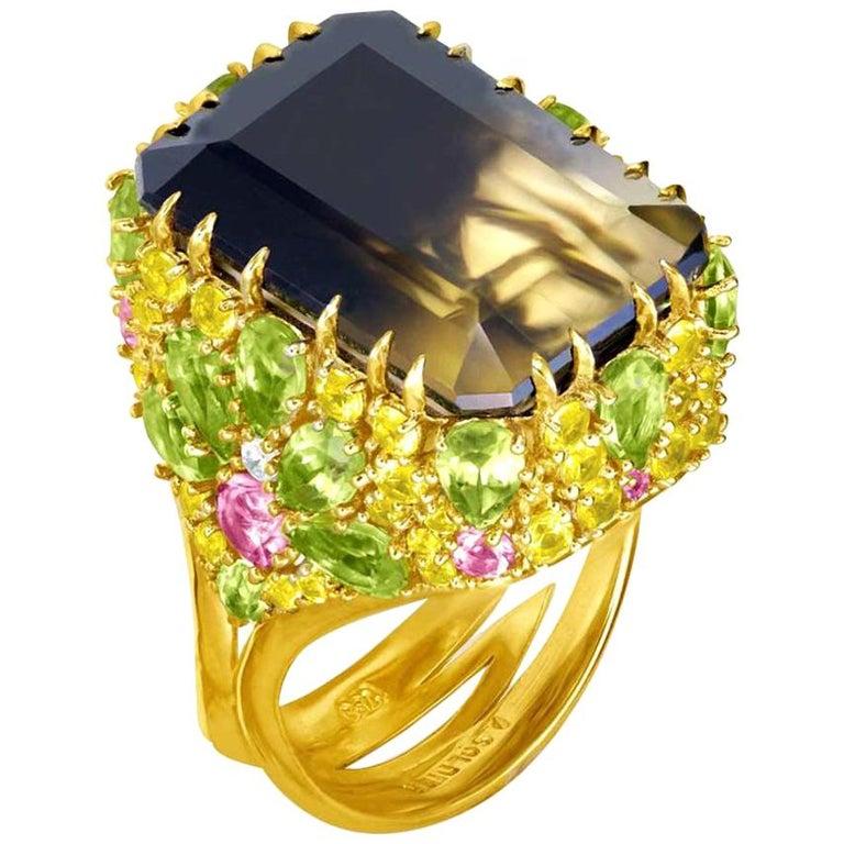 Alex Soldier Lemon Smoky Quartz Peridot Topaz Sapphire Diamond Blossom Gold Ring For Sale