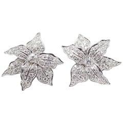 Impressive Floral Round Brilliant Cut Diamond White Gold Ear Clips