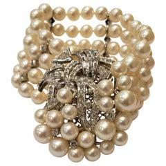 Midcentury Four Strand Pearl Bracelet with Assorted Diamond Clasp