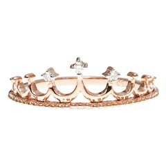 Pink Gold Crown Ring with Diamonds