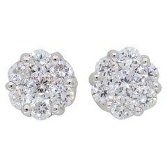 18 Karat Cluster Diamond Stud Earrings