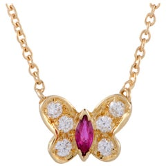 Van Cleef & Arpels Diamond and Ruby Yellow Gold Butterfly Pendant Necklace