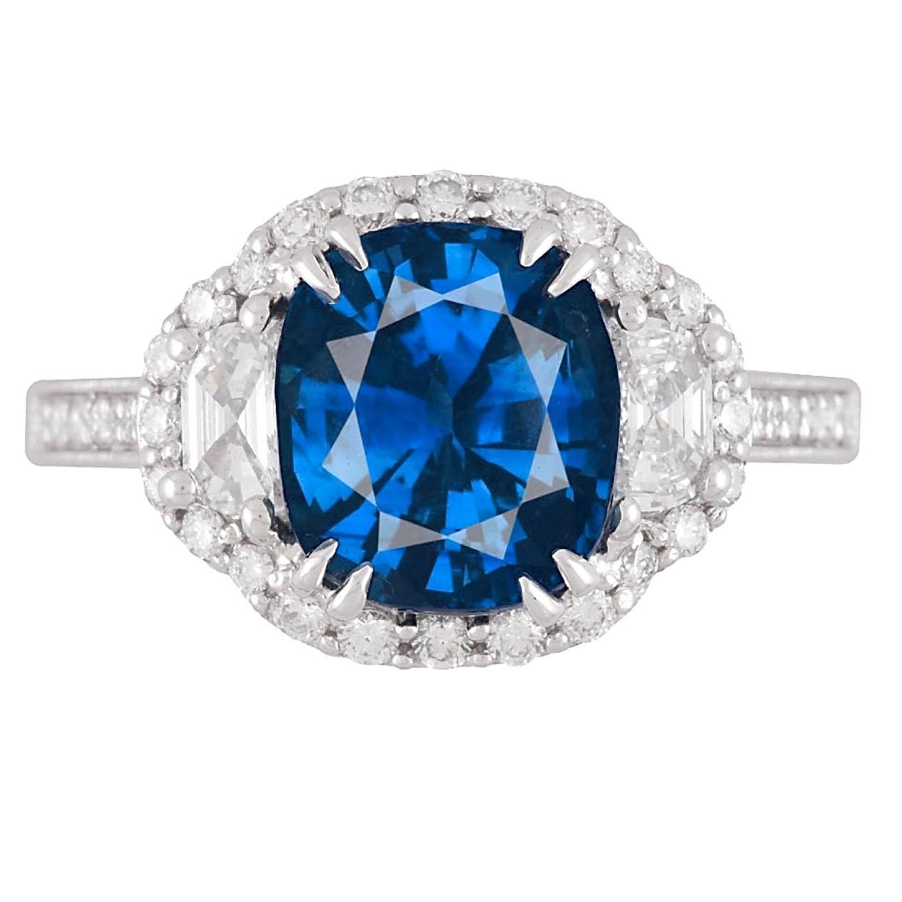 DiamondTown GIA Certified 3.28 Carat Vivid Blue Sapphire Ring