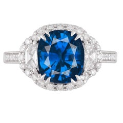 GIA Certified 3.28 Carat Vivid Blue Sapphire Ring in 18 Karat White Gold