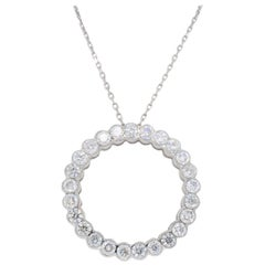 18 Karat Open Circle Diamond Pendant Necklace
