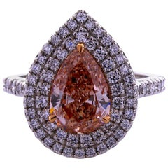 GIA Certified 1.59 Carat Pear Shape Natural Fancy Brown-Pink, VS2, Platinum Ring
