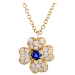 Van Cleef & Arpels Cosmos Diamond and Sapphire Yellow Gold Pendant Necklace