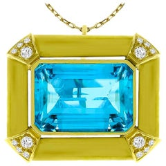 Aquamarine Diamond Gold Pin or Pendant