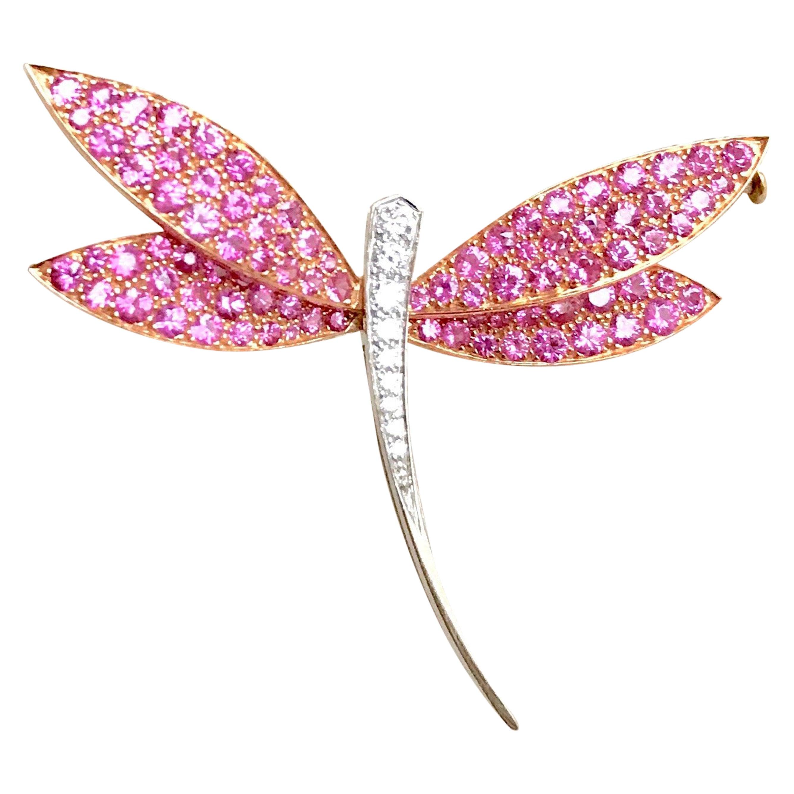Van Cleef & Arpels Gold Dragonfly Brooch, Pink Sapphires Diamonds