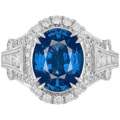 GIA Certified 4.59 Carat Fine Ceylon Sapphire Ring in 18 Karat White Gold