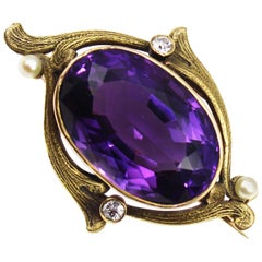 Art Nouveau 35 Carat Amethyst Diamond Gold Pearl Brooch