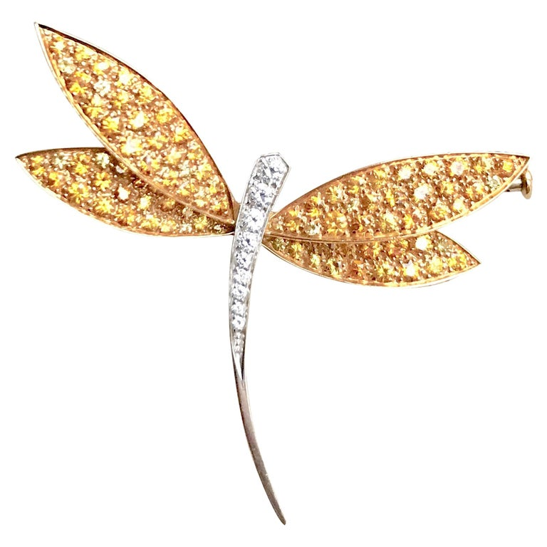 Van Cleef & Arpels Gold Dragonfly Brooch, Yellow Sapphires Diamonds For Sale