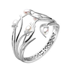 Fei Liu Pearl Cubic Zirconia Rhodium Plated Sterling Silver Bangle