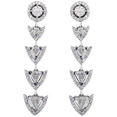 18 Karat Gold and 3.84 Carat Colorless Diamonds Spear Earrings by Alessa Jewelry