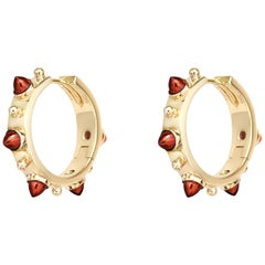 Dubini Punta di Diamante Cabochon Garnet 18 Karat Gold Small Hoop Earrings