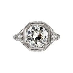 3.03 Carat EGL Certified Old European Cut Diamond Platinum Engagement Ring