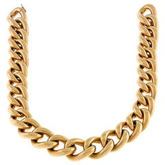 18 Karat Rose Gold Figaro Tubular Chain Necklace