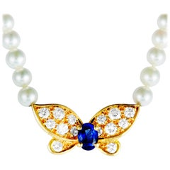 Van Cleef & Arpels Diamond Sapphire and Pearl Yellow Gold Butterfly Necklace
