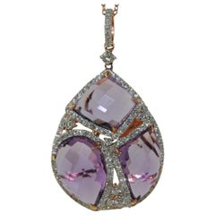 14 Karat Rose Gold Pendant with 15.02 Carat Amethyst and .98 Carat Round Diamond