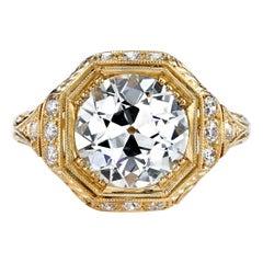 2.70 Carat GIA Certified Old European Cut Diamond 18 Karat Yellow Gold Ring
