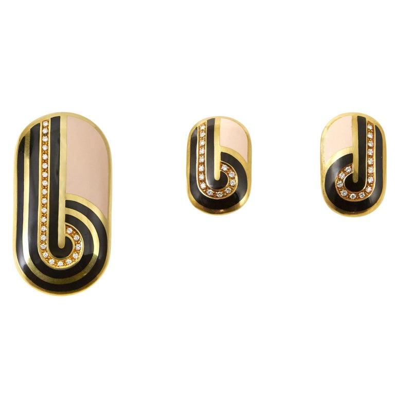 1970s Cartier Diamond Enamel Gold Pendant and Ear Clip Set For Sale