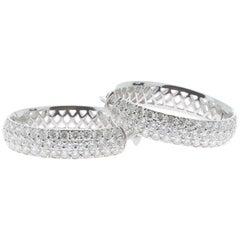 1.83 Carat Diamond Hoop Earrings 18 Karat White Gold GVS
