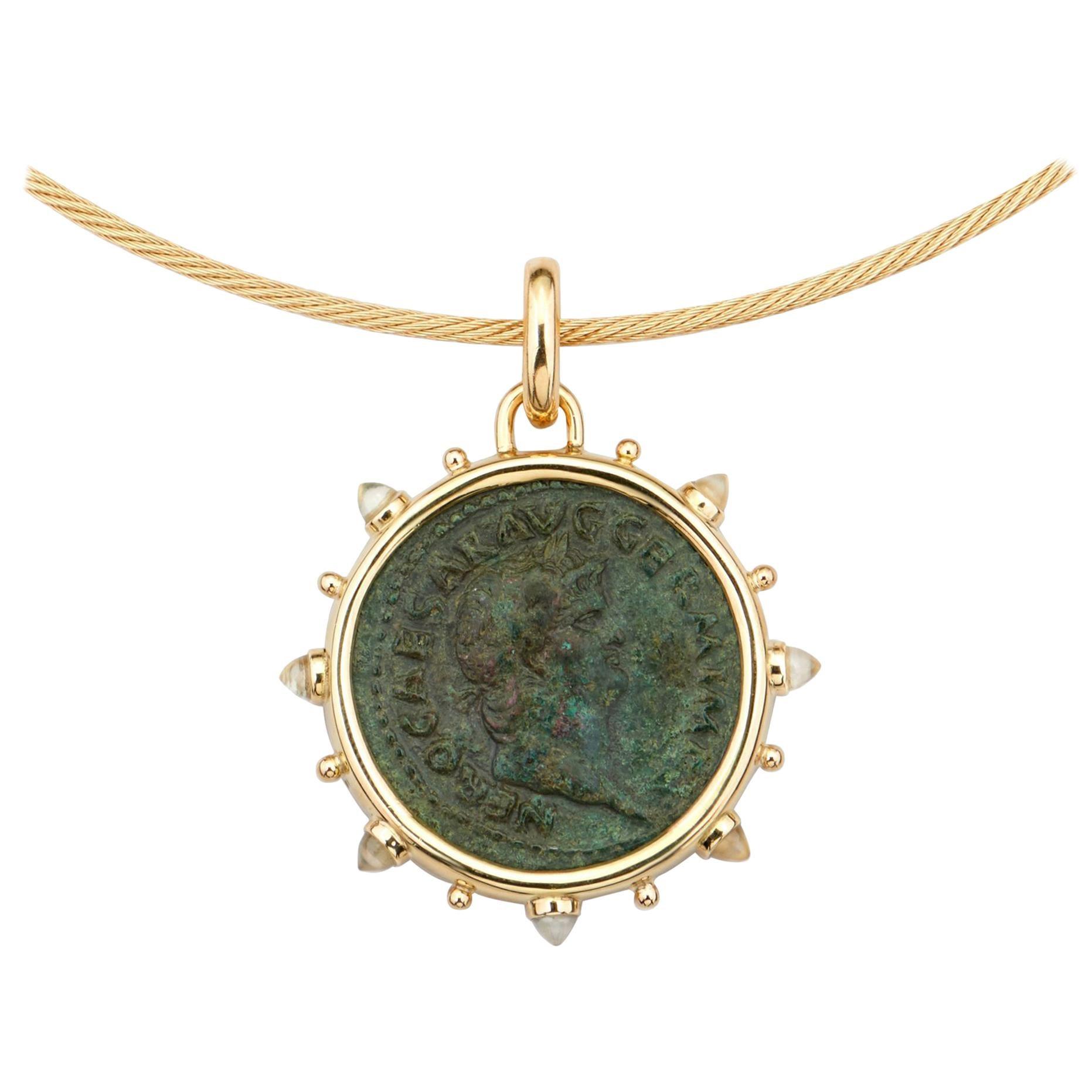 Dubini Ancient Roman Nero Bronze Coin 18 Karat Yellow Gold Moonstone Necklace