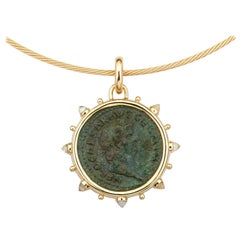 Dubini Ancient Roman Nero Bronze Coin 18 Karat Yellow Gold Moonstone Necklace