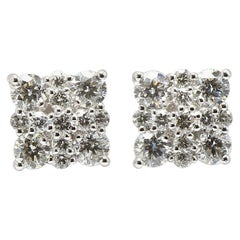 Square Diamonds Cluster Set 18 Karat White Gold Stud Earrings