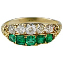 Stunning Victorian Muzo Mine Colombian Emerald Diamond Five-Stone Rare Ring