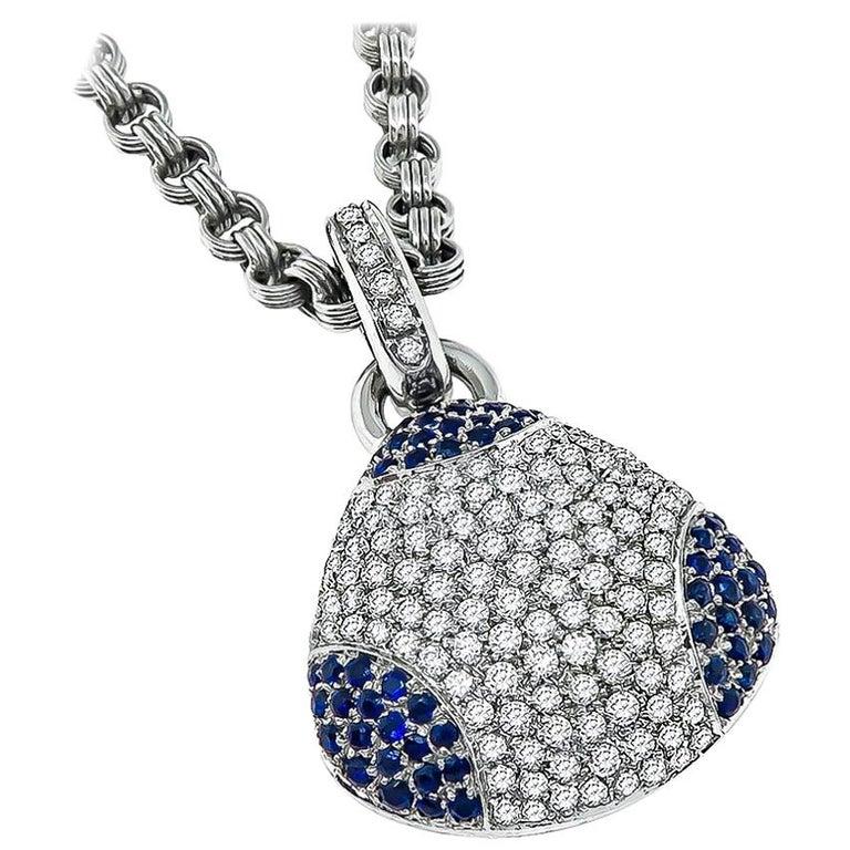 18 Karat White Gold Diamond Sapphire Pendant Necklace For Sale