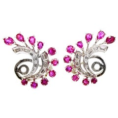 1960s White Gold Ruby Diamond Ear Clips